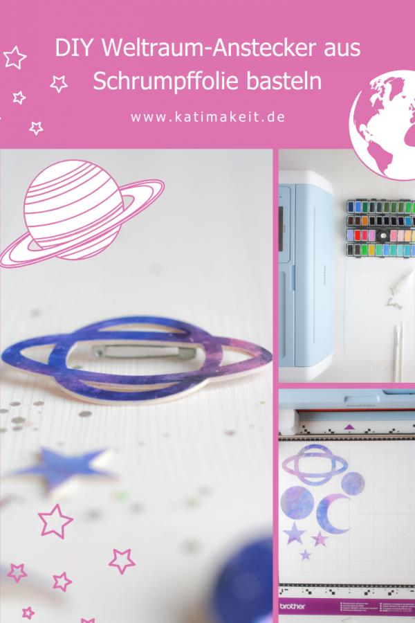DIY Weltraum-Anstecker aus Schrumpffolie basteln