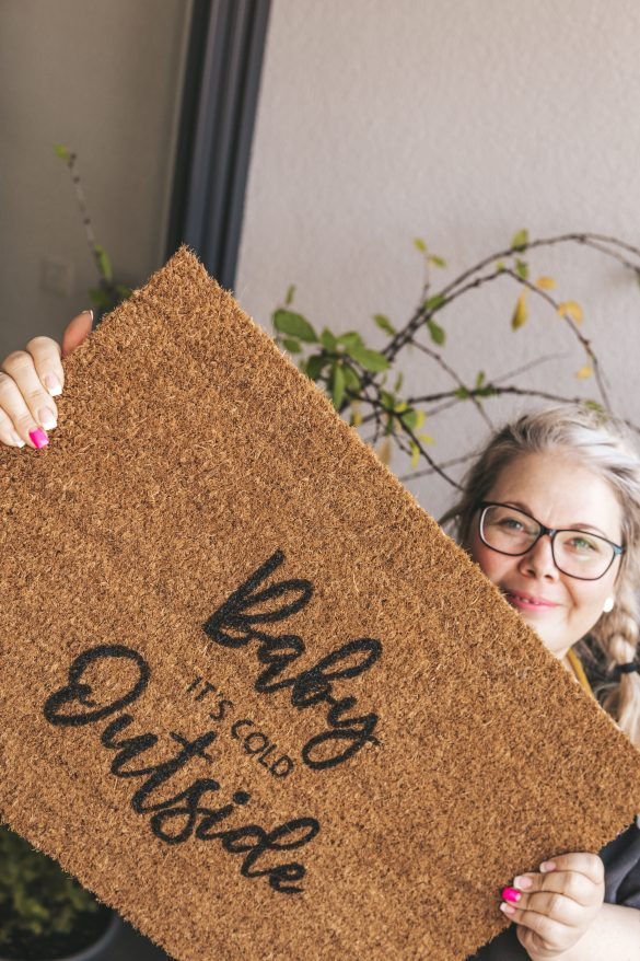 DIY Fußmatte mit Schablone bemalen