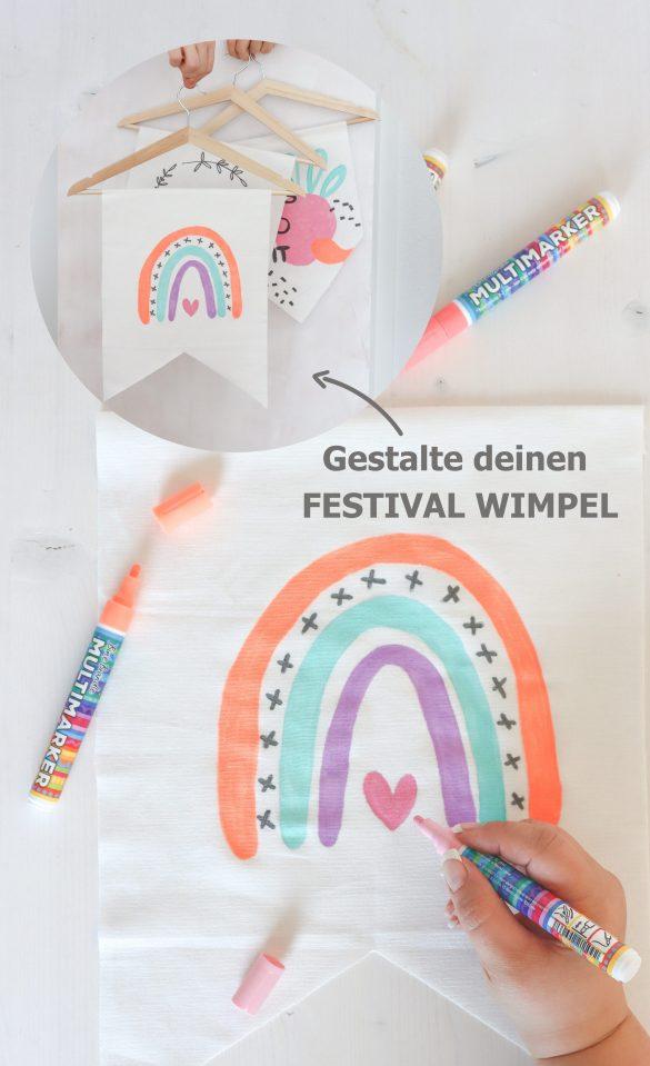 IKEA HACK Wimpel ohne Nähen basteln - einfache Upcycling DIY-Idee für deine Deko zur Gartenparty, Festival oder als DIY-Geschenk.